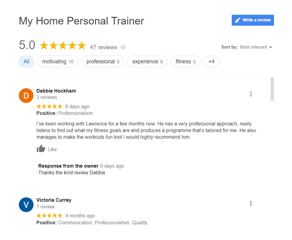 My Home Personal Trainer London reviews